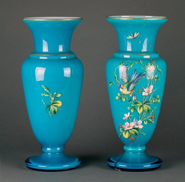 3: PAIR OF OPALINE GLASS TURQUOISE GROUND VASES