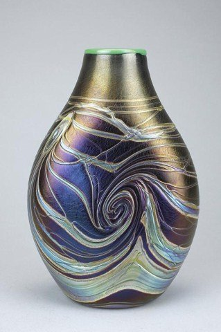5: OVER-LAY GLASS VASE, SIGNED LOTZWEIN