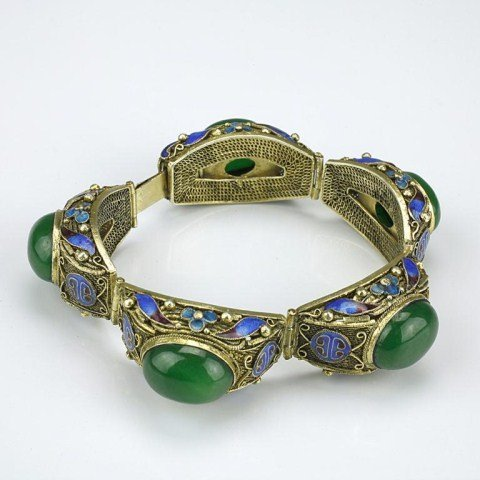 12: CHINESE CLOISONNÉ BRACELET WITH STONE INLAY