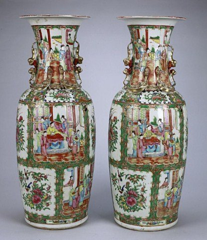 17: PAIR OF ANTIQUE CHINESE CANTON VASES