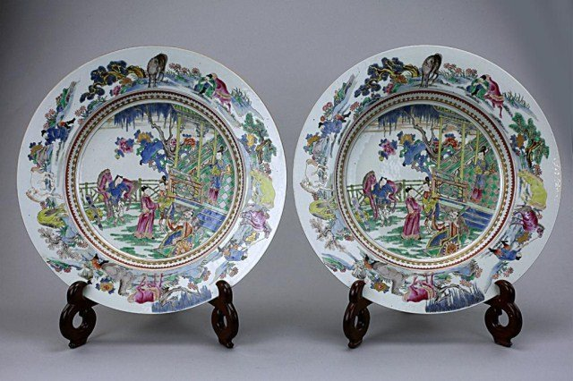88: ANTIQUE PAIR OF CHINESE FAMILLE ROSE CHARGERS