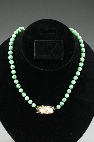 CHINESE JADE AND CORAL NECKLACE WITH GIA CERTIFICATE