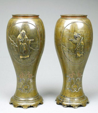 ANTIQUE PAIR OF JAPANESE MIXED METAL IN-LAID VASES