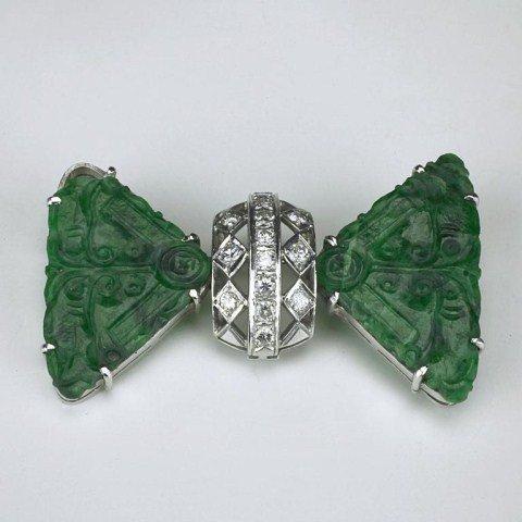 18K WHITE GOLD, DIAMOND SPINACH GREEN JADE BROOCH