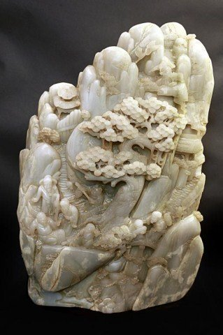 LARGE CHINESE CARVED WHITE JADE BOULDER