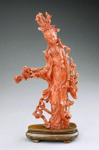 CHINESE CARVED CORAL OF A BEAUTY