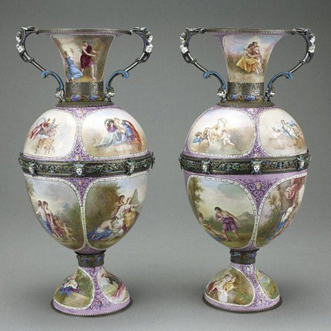 ANTIQUE PAIR OF ENAMELED HAND PAINTED VIENNA VASES