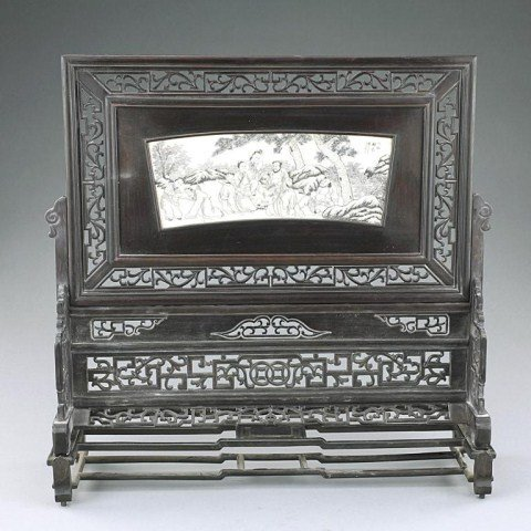 CHINESE CARVED WOODEN SCREEN WITH IVORY IN-LAY