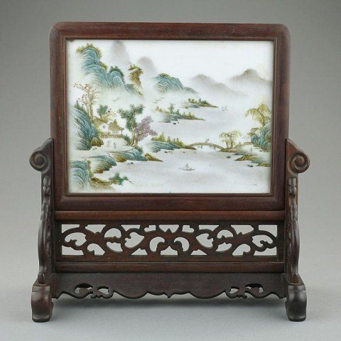 CHINESE PORCELAIN PAINTING WOODEN TABLE SCREEN