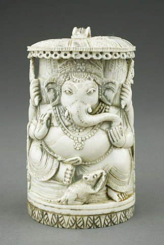 CHINESE CARVED IVORY FIGURE OF GANESH