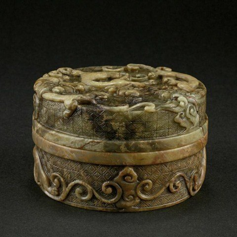 CHINESE CARVED SOAPSTONE LIDDED BOX