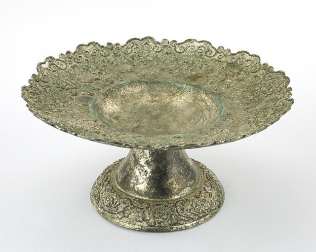 CHINESE SILVER FOOTED DISH