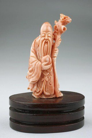 CHINESE CARVED CORAL OF SHOU