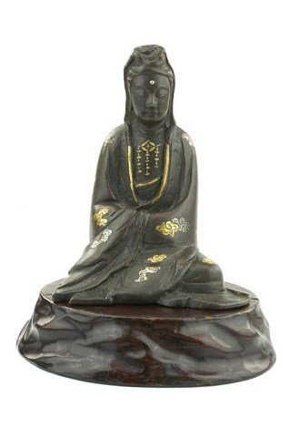 ANTIQUE JAPANESE BRONZE FIGURE OF A SEATED GUANYIN