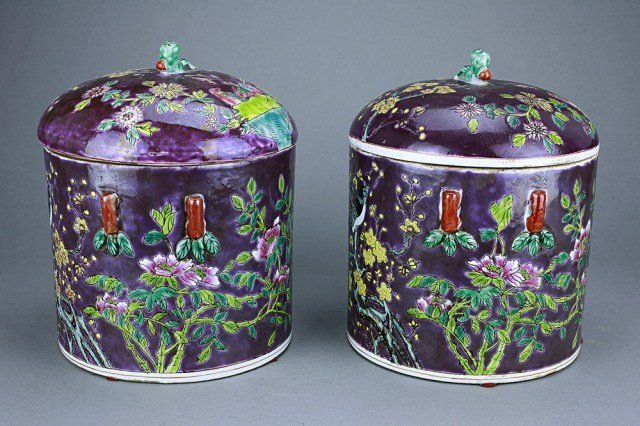 PAIR OF REPUBLIC CHINESE FAMILLE ROSE LIDDED JARS