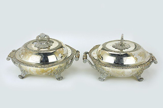 PAIR OF OLD SHEFFIELD ROUND ENTREE DISHES