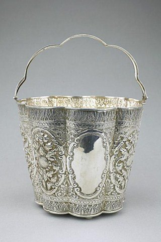 CHINESE SILVER LOBED ICE BUCKET