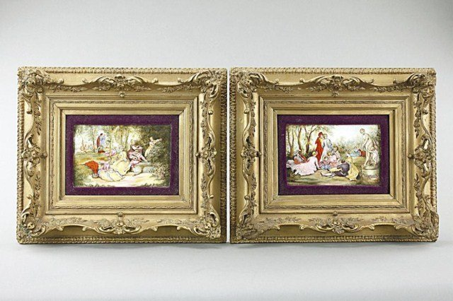 PAIR OF FRENCH ENAMELED PAINTING IN GILDED FRAME