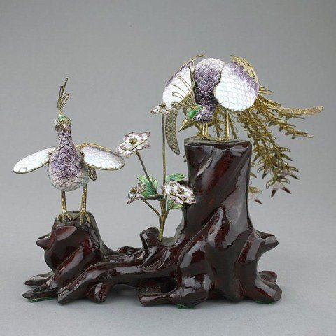 CHINESE SILVER AND ENAMEL PHOENIX FIGURES