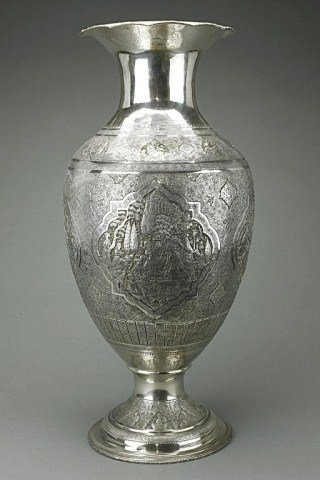 MASSIVE PERSIAN SILVER HAND CHASED VASE
