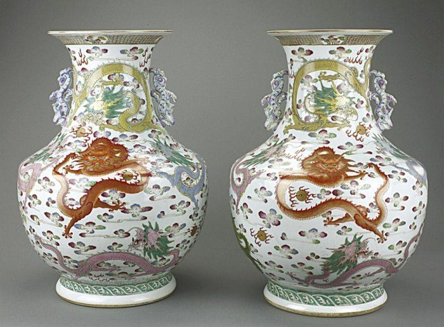 PAIR OF IMPERIAL CHINESE  'DRAGON' VASES
