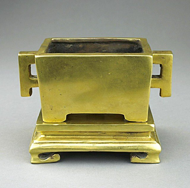 ANTIQUE CHINESE GILT-BRONZE SQUARE CENSER AND TRAY