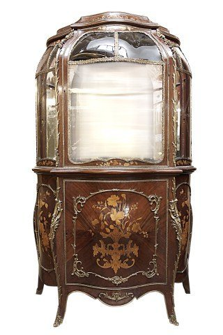 BEAUTIFUL FRENCH BOW FRONT GLASS SHOW CABINET