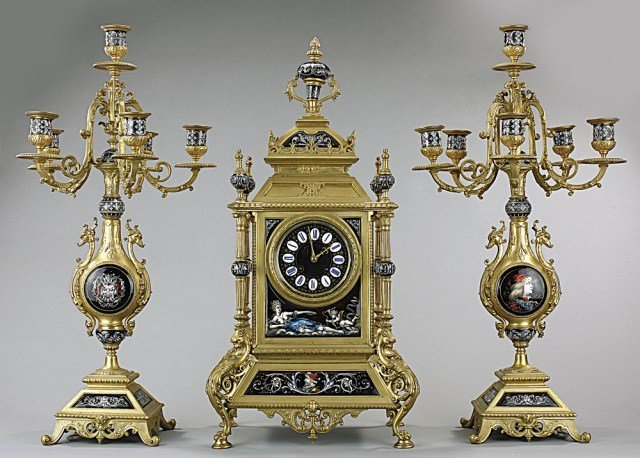 Three Piece French Sevre Garniture Clock  Set
