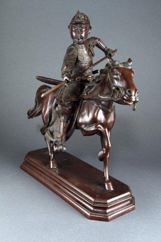 EXQUISITE JAPANESE BRONZE, OF A WARRIOR ON A HORS