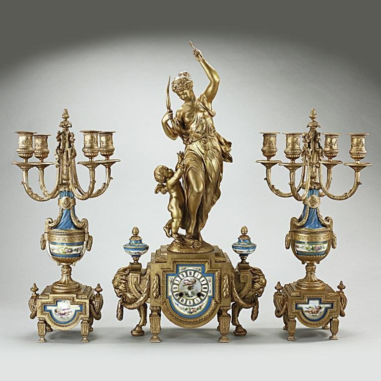 French Porcelain And Gilt-Metal Garniture Clock Set