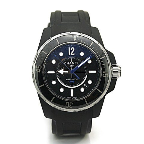 CHANEL J12 AUTOMATIC BLACK LACQUERED DIAL WATCH