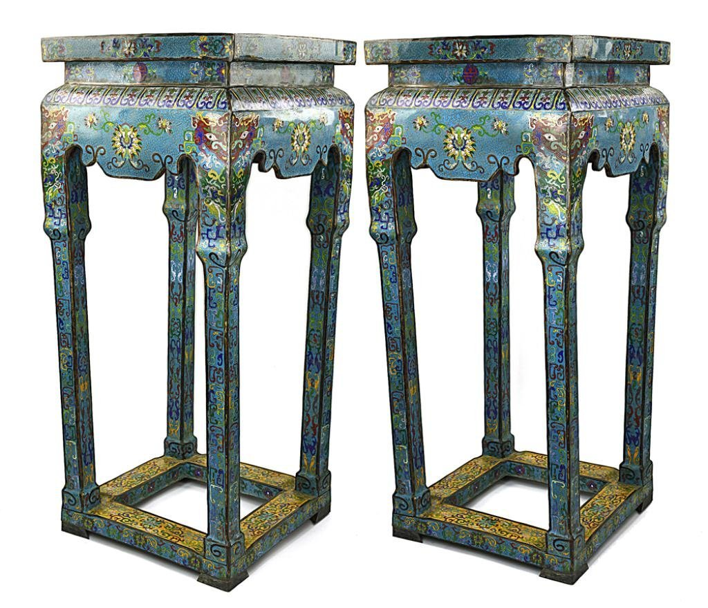 PAIR OF CHINESE TALL CLOISONNE ENAMELLED STANDS