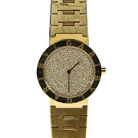BVLGARI 18K YELLOW GOLD DIAMOND DIAL WATCH