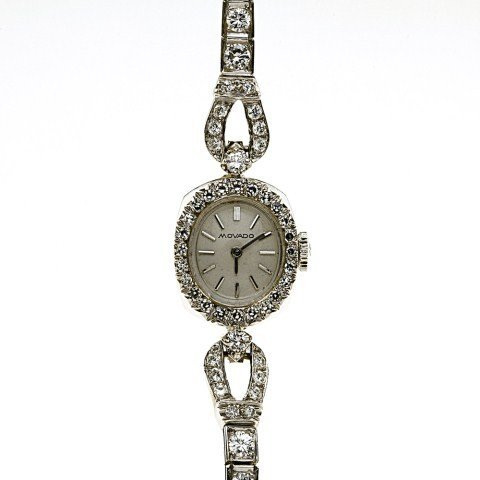 MOVADO 14 K WHITE DIAMOND LADIES WATCH