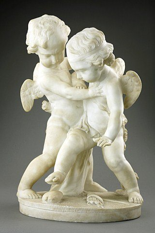 19TH CENTURY FRENCH MARBLE FIGURE OF TWO CUPIDS