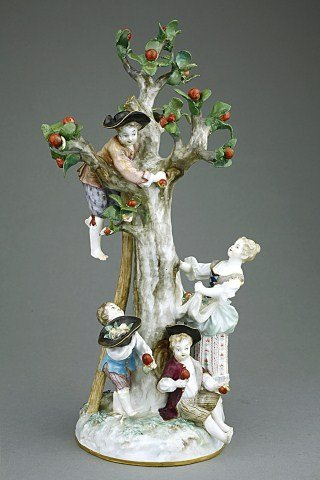 MEISSEN PORCELAIN GROUP, PICKING APPLES