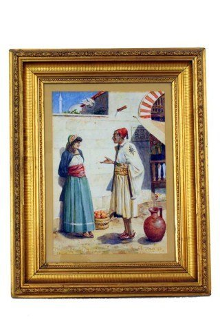 WATERCOLOR PAINTING BY BENJ E TAPLIN DATED 1893