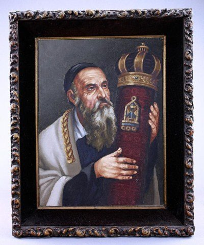 OIL PAINTING ON CANVAS, OF A RABBI