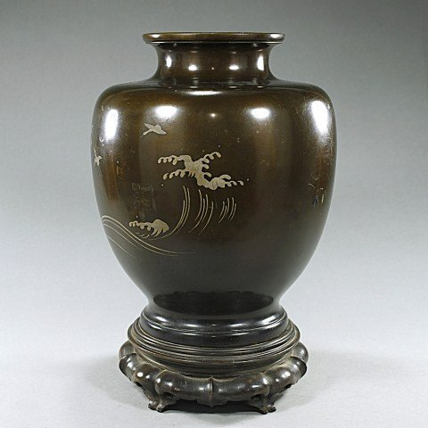 JAPANESE BRONZE VASE WITH SILVER IN-LAY
