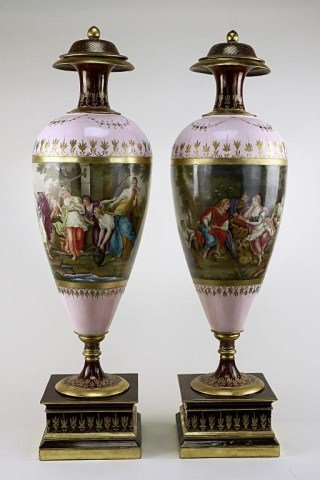 PAIR OF LARGE HAND-PAINTED VIENNA VASES