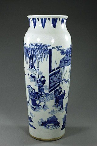 CHINESE BLUE AND WHITE CYLINDRICAL VASE