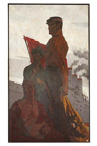 RUSSIAN MURAL OIL PAINTING ON CANVAS