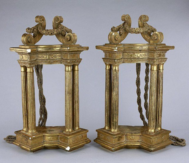 PAIR OF FRENCH GILT CHALK WALL HANGERS