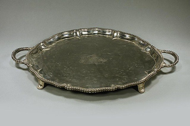 ENGLISH SILVER PLATED TWO-HANDLED TRAY