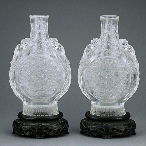 PAIR OF CHINESE CRYSTAL MOON FLASK VASES