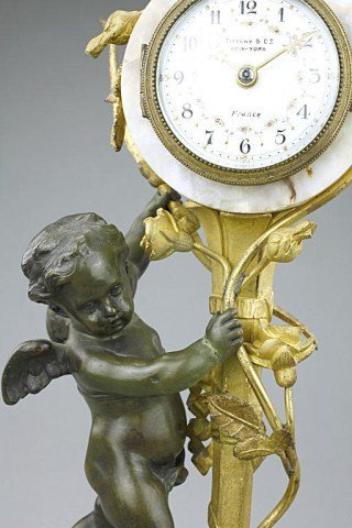 FRENCH PATINATED AND GILT-BRONZE MANTEL CLOCK - 3