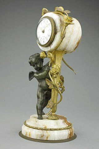 FRENCH PATINATED AND GILT-BRONZE MANTEL CLOCK - 4