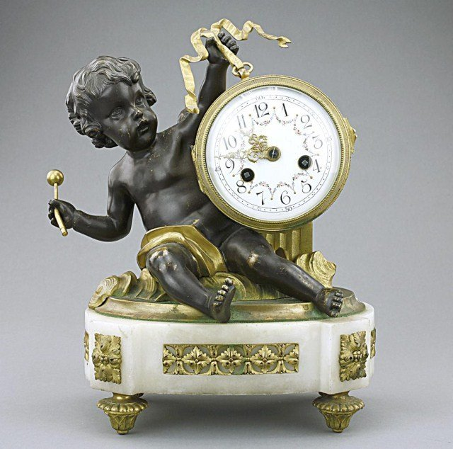LOUIS XVI-STYLE GILT-BRONZE FIGURAL MARBLE CLOCK
