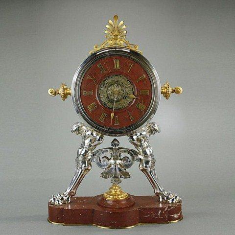 FINE FRENCH GILT SILVERED BRONZE MANTEL CLOCK