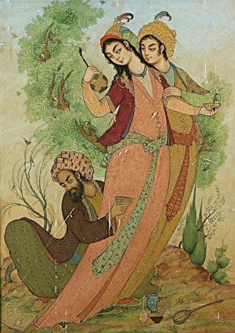 IMPORTANT PERSIAN WATERCOLOR PAINTING ON PAPER
